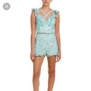 Adeline Rae aqua blue lace overlay romper XS